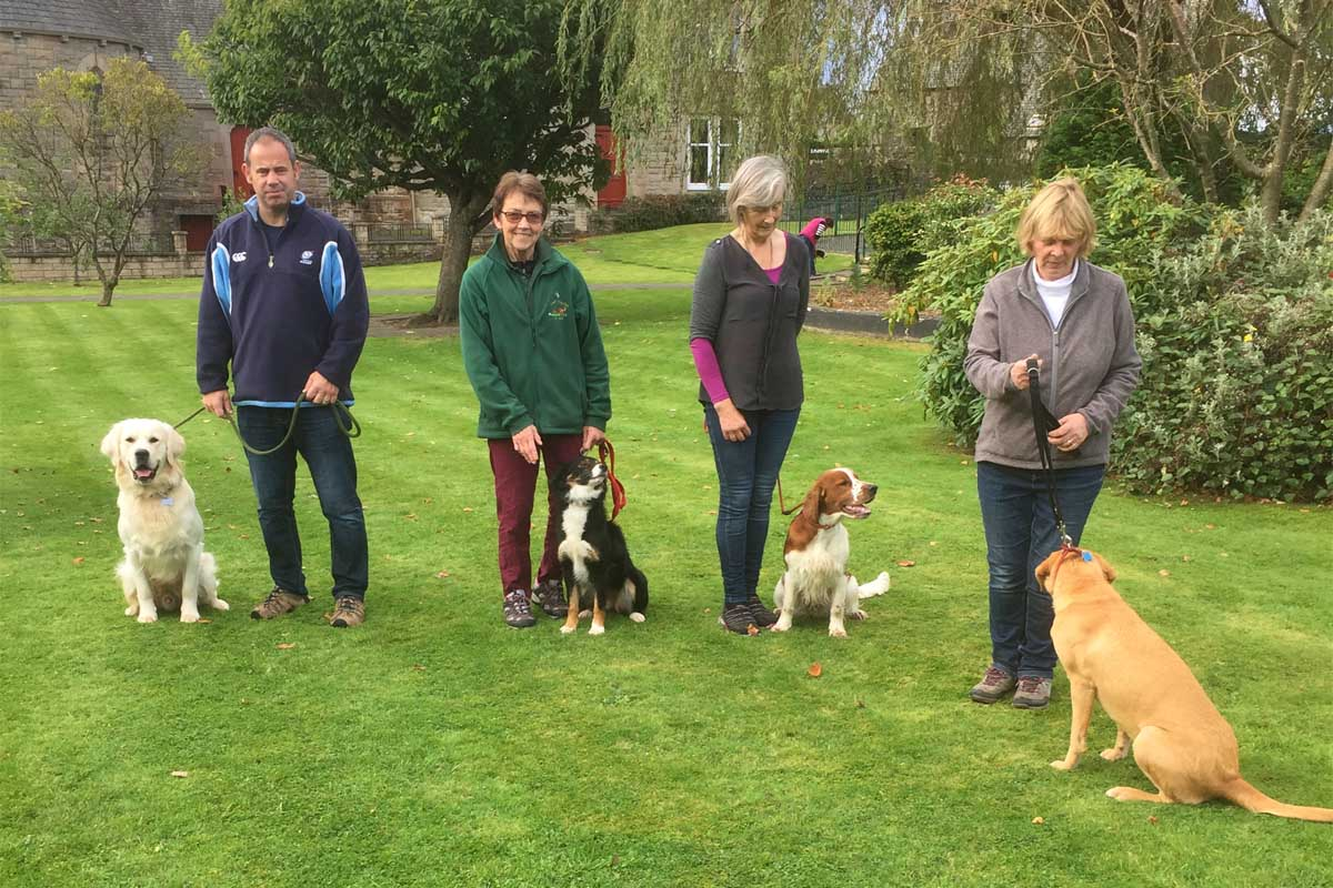 Kennel Club Good Citizen BRONZE Award on 30 September 2017 Andy with Baily, Pearl with Midge, Fionna with Deezyl and Johanna with Amber